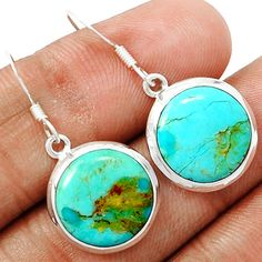 Blue Turquoise From Arizona 925 Sterling Silver Earrings Jewelry BMTE516 - JJDesignerJewelry