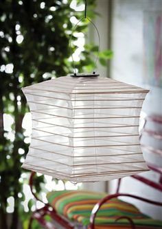 #Collapsible Square #Solar Fabric Lantern White.  Solar, Sheer Pearlized Fabric uses white LED Lights and AAA Rechargeable Batteries (not included), Hanging Lantern. #lantern #lanterns #solarlantern