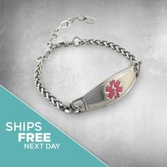 """Medical ID Bracelet Women, Contemporary """"Stainless Steel Adjustable"""" Diabetic Bracelet, Allergy Bracelet and more, FREE Engraving, N-StyleID Diabetic Bracelets, Medical Id Bracelets, Adjustable Bracelet, Lobster Clasp, Stainless Steel, Contemporary, Band, Chain, Personalized Items"""