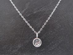 Aum Pearl Live Mindfully Inspirational Words Sterling Silver Zen Charm Necklace