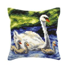 Orchidea Swans Family Pillow Cover Needlepoint Kit