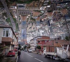 In seiner aktuellen Serie auf Instagram spiegelt Büyüktas ganze Stadtlandschaften.