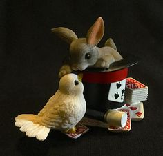 """Fitz & Floyd Charming Tails """"Our Friendship Is Magic"""" - Rabbit In Magician's Hat Atop Playing Cards And Magic Wand, Petting Dove by WuziesAttic on Etsy"""