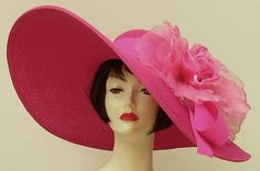 """Most popular hat for the Oaks Race! Hot Pink 8"""" Brim/XL Rose from HAT-A-TUDE.COM"""