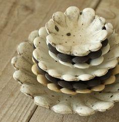 Japanese ceramic petal bowls