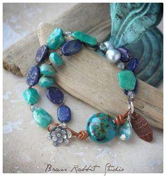"Boho Luxe leather link bracelet, ""Be Vibrant""   Brass Rabbit Studio #boho #jewelry #handmade #bohemian #beachjewelry #turquoise #rustic #sundance #bracelet"