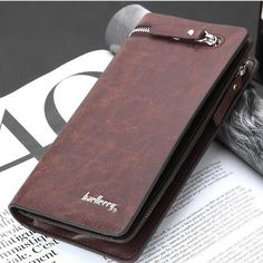 Billfold Men's Cowhide Leather ID Card Holder Zip Wallet Purse Clutch Checkbook Coin Bag, Coin Purse Wallet, Zip Wallet, Long Wallet, Coin Purses, Leather Purses, Leather Wallet, Pu Leather, Cowhide Leather
