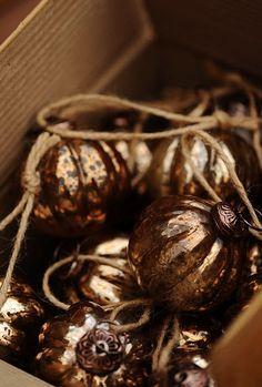 Brown and copper mercury ornaments