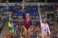 Jordyn Wieber, Gabrielle Douglas and Aly Raisman top the all-around podium at the 2012 Visa Championships, which qualifies them for the USA Gymnastics Olympic Trials.