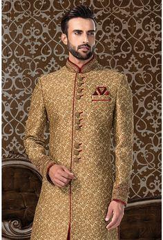 golden brocade sherwaniTo order this whatsapp us on 919511613559 Sherwani For Men Wedding, Wedding Dresses Men Indian, Sherwani Groom, Mens Sherwani, Wedding Dress Men, Wedding Men, Punjabi Wedding, Indian Weddings, Farm Wedding