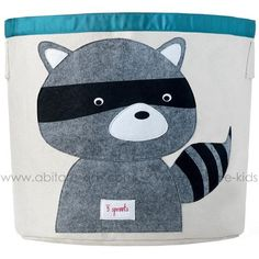 This 3 Sprouts Raccoon Storage Bin is ideal in the nursery or children's bedroom for storing toys or clothes, or use as a laundry basket. The 3 Sprouts Storage Bin is made from cotton canvas with a polyester felt applique. Nursery Storage Baskets, Toy Storage Bins, Toy Bins, Easy Storage, Kids Storage, Cube Storage, Storage Organization, Clothes Storage, Plastic Storage