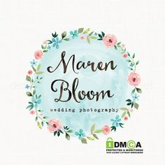 premade watercolor flower wreath logo design by stylemesweetdesign