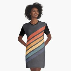 Retro Stripes 70s Style by ind3finite | Redbubble 70s Style, Vintage Style, 70s Fashion, Vintage Fashion, Top Artists, Shirt Dress, T Shirt, Stripes, Popular