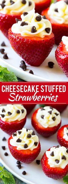 Cheesecake Stuffed Strawberries Recipe | No Bake Dessert Recipe | Stuffed Strawberries | No Bake Cheesecake Recipe