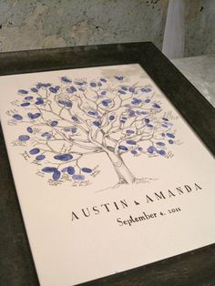 cute idea. instead of a guest book have everyone put their thumbprint and name and frame it.
