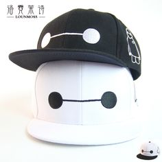 Anime Big White Baseball Caps Hip Hop Lovers Visor Spring White Hat Adjustable Adult Strehttp:et Hip-hop Big Hero 6 Hats MZ011