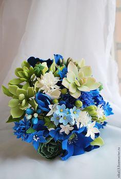 """Купить свадебный букетик """"Василёк с суукулентами"""" - тёмно-синий, васильковый цвет, василек, свадьба"""