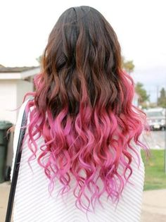 Pretty Pink dip dye hair, I would like to do this to my hair... maybe a different color though...