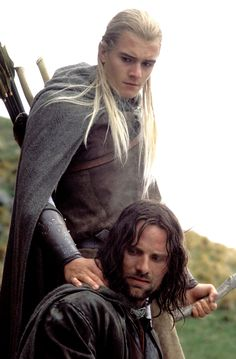 This is what we call 'friendship'...Aragorn and Legolas