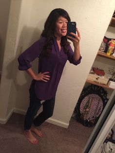 Purple tab sleeve blouse that I'm not the fondest of ; Stitch Fix Blog, Athletic, Purple, Blouse, Sleeves, Jackets, Fashion, Down Jackets, Moda