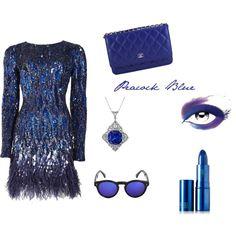 Peacock Blue by unicornslifeever on Polyvore featuring Matthew Williamson, Chanel, Illesteva, Lipstick Queen and L'Oréal Paris
