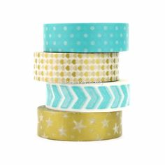 Cute Washi Tape Set of 4 Planner Decoration Metallic Heart Arrow Polka Dot…