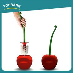 Source Toprank Novelty Cherry Shaped Curved Lavatory Brush Decorative Toilet Cleaning Set Plastic Toilet Brush With Holder on m.alibaba.com