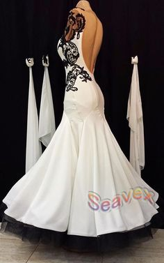 Ballroom White Cocktail Waltz Tango Prom US 4 Dance Dress #B3078 Black Lace #seahunter