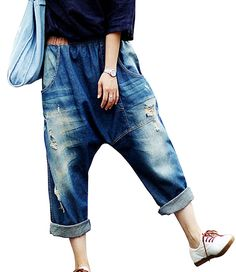 Shop a great selection of Aeneontrue Women's Casual Hip Hop Drop Crotch Ripped Harem Jeans Sreet Denim Pants Trousers. Find new offer and Similar products for Aeneontrue Women's Casual Hip Hop Drop Crotch Ripped Harem Jeans Sreet Denim Pants Trousers. Harem Jeans, Denim Pants, Women's Jeans, Drop Crotch Jeans, Overalls Women, Overalls Style, Pants Style, Baggy Clothes, Mode Boho