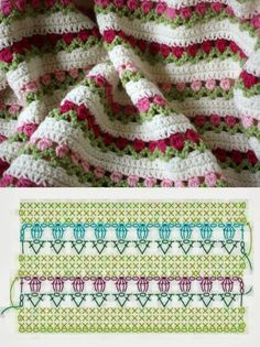 Crochet Stitches Chart, Crochet Diagram, Crochet Blanket Patterns, Crochet Motif, Crochet Designs, Crochet Crafts, Crochet Yarn, Crochet Hooks, Crochet Projects