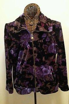Style & Co Sport Women's XL Stretch Plush Velour Zip Up Jacket Purple Floral