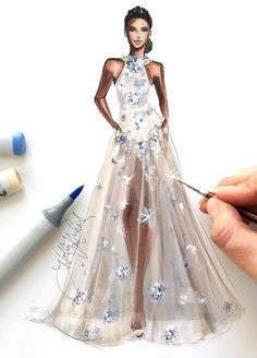 Elie Saab AW 2017-18 ✨ #ATaleOfFallenKings @copicmarkers #FashionIllustration| @hnicholsillustration/ hnillustration.etsy.com| Be Inspirational ❥|Mz. Manerz: Being well dressed is a beautiful form of confidence, happiness & politeness