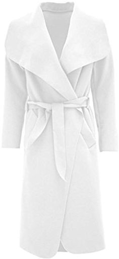 55c63275430 Womens Oversized Waterfall Front Long Belted Coat  Amazon.co.uk  Clothing £