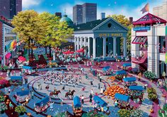 """Alexander Chen (b. 1952 in China) is an artist split between his love for city life and the countryside. He immigrated to the US as an adult and his paintings reflect his love for America's mix of bustling cities and beautiful national parks. He defines his style as """"hyperrealist."""" First he takes hundreds of photos of a scene, then begins painting with such detail that no person, bird, advertisement, stoplight, or window is left out. His subjects are often popular travel destinations"""
