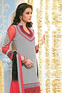 Salwar kameez dresses with amazing patterns and artwork available.