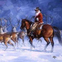 Cowboy Santa rounding up his reindeer.