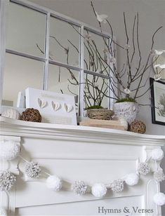 Whites look great for a winter fireplace mantel.
