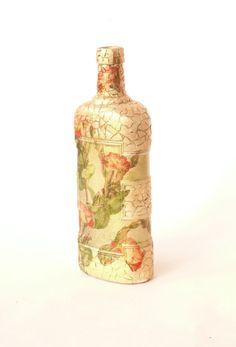 Decoupage Glass Bottle Gold Red Orange Green by SenseAndEmotions, $41.00