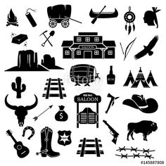 american, badge, bandit, bison, black, boot, bull, cactus, campfire, country, cowboy, culture, dynamite, fire, gold, guitar, gun, hat, horse, horseshoe, icon, illustration, indian, logo, mountain, pistol, poster, retro, revolver, rodeo, rush, saloon, set, sheriff, silhouette, skull, star, symbol, texas, village, wagon, weapon, west, western, wheel, wild, wood, train, track, railroad