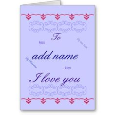 Romantic Valentines Day Card His Add name front