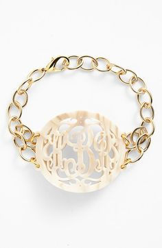 Moon and Lola 'Annabel' Large Oval Personalized Monogram Bracelet (Nordstrom Exclusive) | Nordstrom