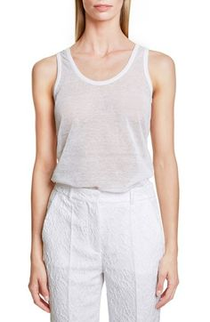 GIVENCHY Scoop Neck Linen Blend Tank. #givenchy #cloth #tank #cami #shell