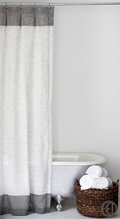 Long White and Grey Mesh Shower Curtain with Top and Bottom Banding