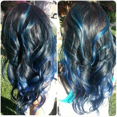 Teal and blue balayage highlights