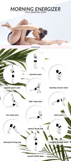 Stretch the entire front and back of the body, build strength and boost your energy levels with this 20 minute full body energizing flow. A morning yoga routine that gives you the amount of stretch and focus you need to have a calm and productive day. http://www.spotebi.com/yoga-sequences/morning-energizer/ #totalbodytransformation