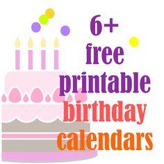 6+ FREE printable birthday calendars - perpetual calendars ^^