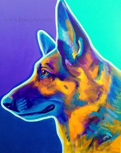 Print of Colorful German Shepherd Painting by Alicia VanNoy Call. FREE SHIPPING* in the U.S.!    This bright, happy artwork will make a wonderful