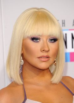 After months of sporting long ombre curls, Christina Aguilera debuted this  fierce Cleopatra-inspired mid-length bob
