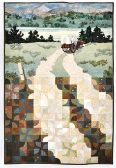"""Northwest Quilters 2012 Raffle Quilt is """"Before I-84"""". It is based on an original painting by Rebecca Barker – """"Oregon Trail Quiltscape"""" © 2000. The Raffle Quilt coordinator for 2012 is Karen Esterholdt. The quilt's size is 46"""" X 61"""" . The top 1/3 is appliqué. The bottom 2/3 is pieced."""