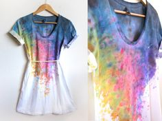 Splash Dyed Hand PAINTED Scoop Neck Pinned Rolled by twostringjane. Love the idea and colors.